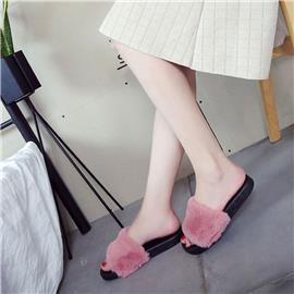 Fluwelen slippers met twee kleuren