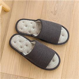 Mannen gestreepte detail open teen corduroy slippers