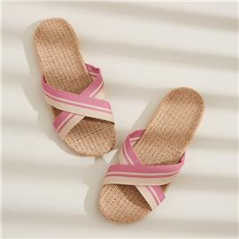 Roze  Boho Gestreept Slippers