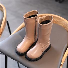 Halfhoge kalfsleren laarzen met rits aan de zijkant voor meisjes