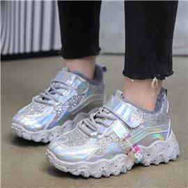 Holografische sneakers met klittenband voor meisjes