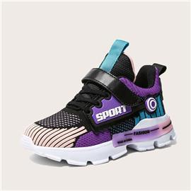 Sneakers met kleurvlakken en klittenband voor meisjes