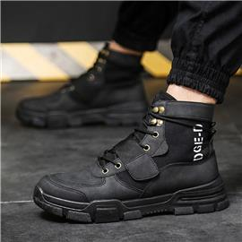 Heren Letter Graphic Velcro Strap Combat Boots