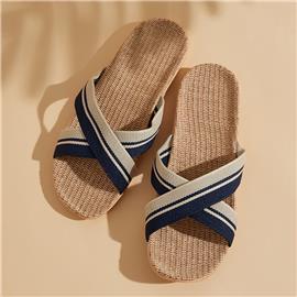 Donker blauw Gestreept Heren slippers