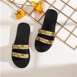 Goud Comfortabel Slippers Borduurwerk