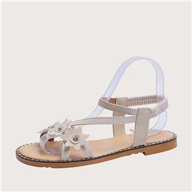 Sandalen met enkelbandjes en bloemenapplicaties
