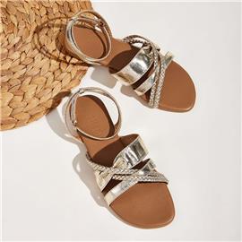 Metallic gevlochten sandalen met enkelbandjes