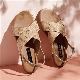 Slingback kurk sandalen met gekruiste bandjes