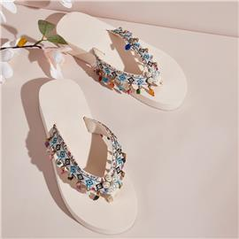 Faux Pearl Decor Tribal grafische slippers