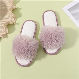 Pluizige pantoffels met open teen en brede pasvorm