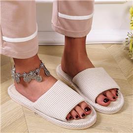 Open teen gestreepte pantoffels met brede pasvorm