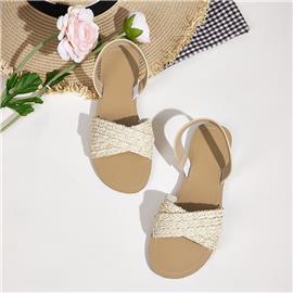 Gevlochten platte sandalen met open teen en slingback