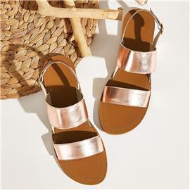 Metallic slingback sandalen met dubbele bandjes