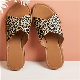 Leopard Cross Strap Flat Sliders
