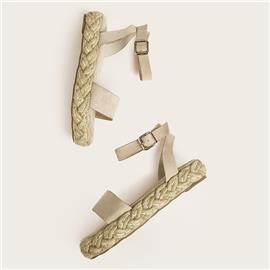 Espadrille sandalen met enkelbandje en open teen