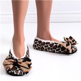Luipaard pantoffels met strik