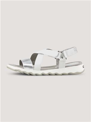 TOM TAILOR Metallic sandalen, white-silver