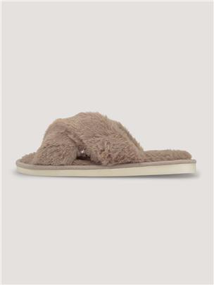 TOM TAILOR Pantoffels met imitatiebont, taupe