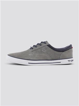 TOM TAILOR Moderne leren veterschoen, grey