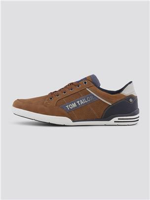 TOM TAILOR Sneakers met grote logoprint, cognac