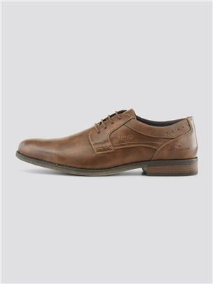 TOM TAILOR Glanzende Lace Up Schoenen, cognac
