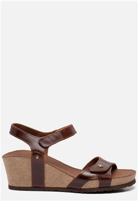 Panama Jack Julia Clay B1 sandalen met sleehak cognac