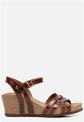 Panama Jack Vera Clay B1 sandalen met sleehak cognac