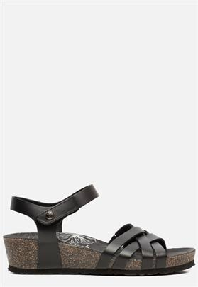 Panama Jack Chia Nature B2 sandalen met sleehak zwart