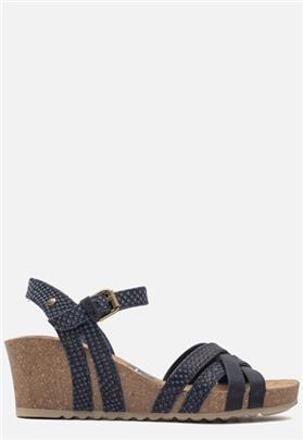 Panama Jack Vera Snake B2 sandalen met sleehak blauw