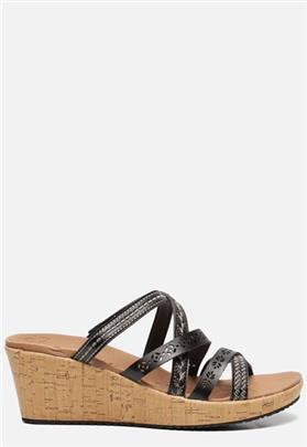 Skechers Beverlee Tiger Posse sandalen met sleehak zwart
