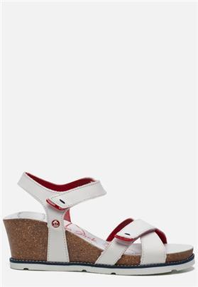 Panama Jack Vieri Navy B3 sandalen met sleehak wit