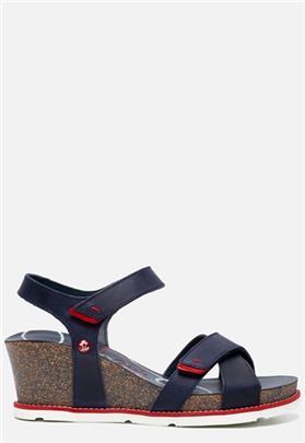 Panama Jack Vieri Navy B4 sandalen met sleehak blauw