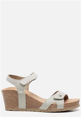 Panama Jack Julia Snake B804 sandalen met sleehak grijs