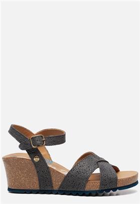 Panama Jack Vika Roses B5 sandalen met sleehak blauw