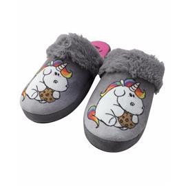Pluche eenhoorn pantoffels / sloffen grijs voor kinderen
