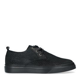 Zwarte suède sneakers met detail