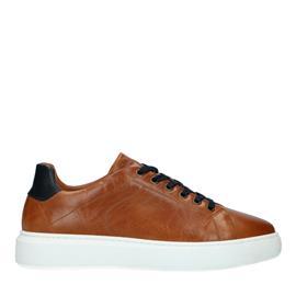 Cognac sneakers met donkerblauw hielstuk