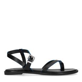 Zwarte platte sandalen met neon details