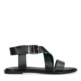 Zwarte sandalen met neon details