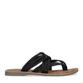 Zwarte gevlochten slippers