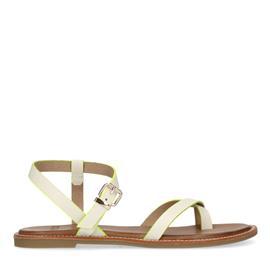 Witte platte sandalen met neon details