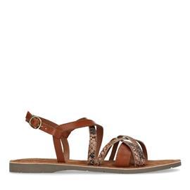 Bruine sandalen met snakeskin