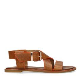 Bruine sandalen met oranje details