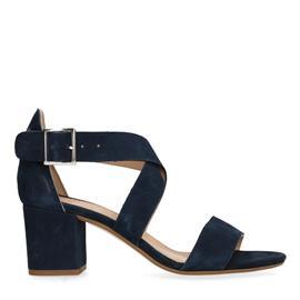 Donkerblauwe sandalen met hak