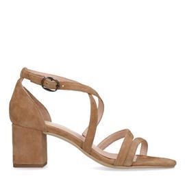 Beige suède sandalen met hak
