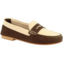Mocassins Leonardo Shoes 503 NABOK STRUZZO T. MORO BEIGE