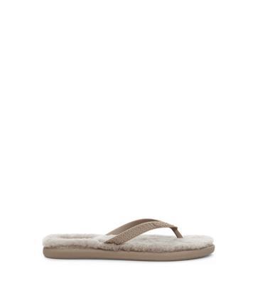 UGG Fluffie Sandalen voor Dames in Oyster, maat 36 | Shearling/Synthetisch