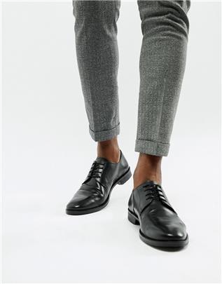 ASOS DESIGN - Derby schoenen van zwart leer