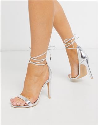 Glamorous - Zilverkleurige sandalen met hak en enkelbandjes