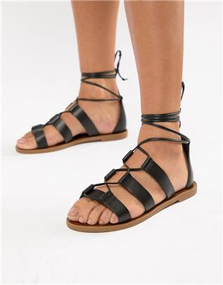 Aldo - Leren sandalen met strikbanden-Zwart